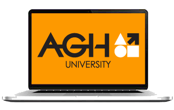 Laptop with AGH University image