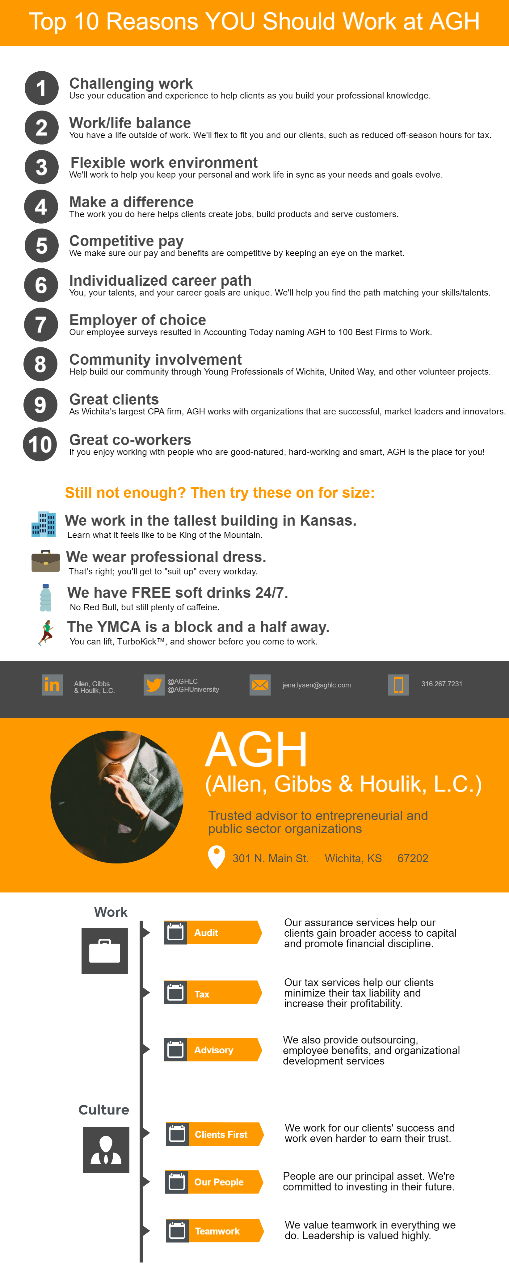 Top 10 reasons to work at AGH infographic